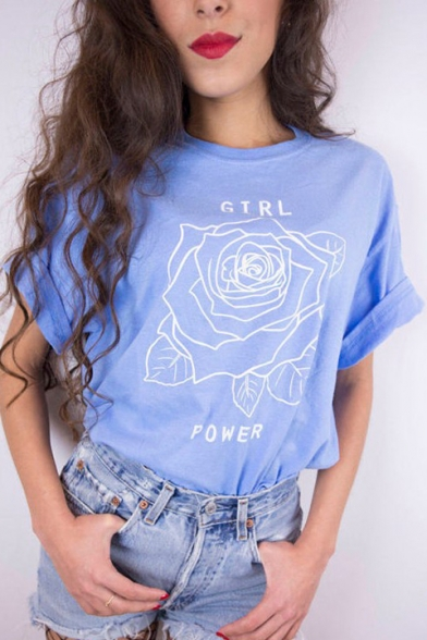 GIRL Letter Tee Short Neck Floral Round POWER Printed Sleeve rHqRr4