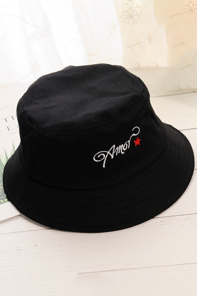 41c563db7c998e Girl's AMOR Letter Embroidered Bucket Hat - Beautifulhalo.com