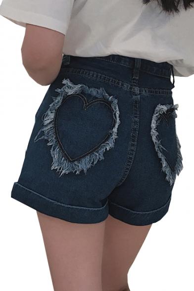 Купить со скидкой Heart Pattern Pockets High Waist Zipper Fly Hot Pants Denim Shorts