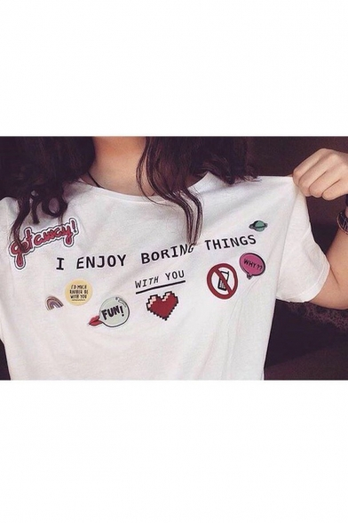 Printed BORING I Round Heart THINGS Tee Neck ENJOY Short Letter Sleeve CCATUwfq