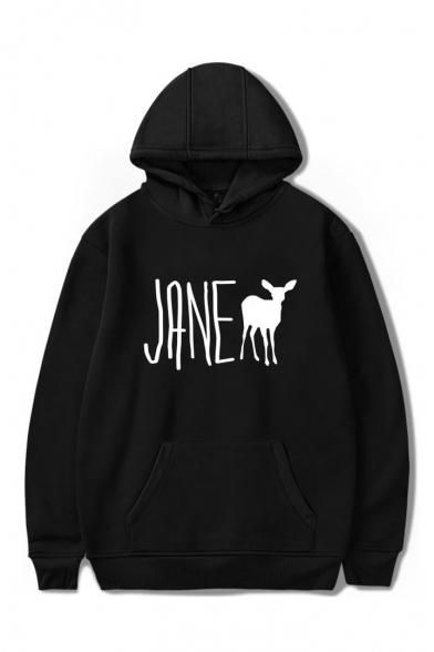 JANE Letter Animal Printed Long Sleeve Hoodie