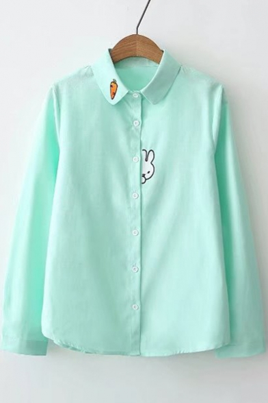 Rabbit Carrot Embroidered Lapel Collar Long Sleeve Buttons Down Shirt