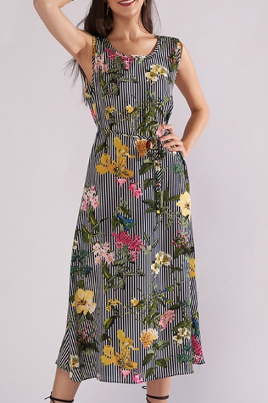 Round Neck Sleeveless Floral Striped Printed Tied Waist Maxi A-Line Dress