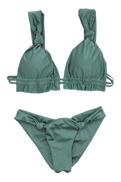 Sexy Holiday Plain Knotted Detail Straps Bikini