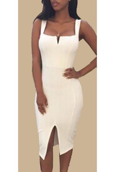 Stylish V-Neck Split Front Plain Slip Bodycon Dress