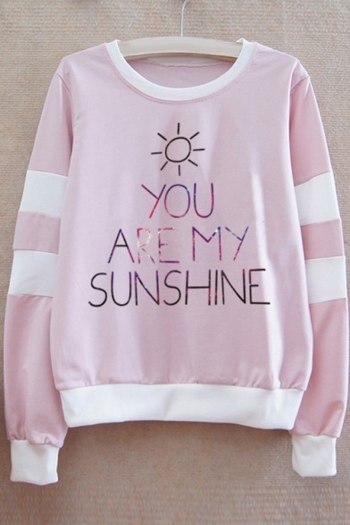 Sweatshirt MY SUNSHINE Contrast ARE YOU Sleeve Round Letter Long Printed Neck Striped ZqUPqwCx