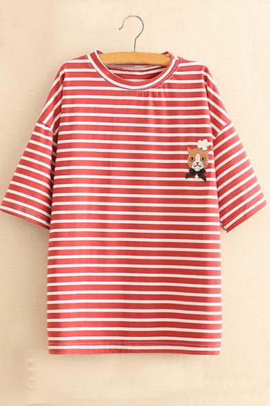Round Tee Neck Striped Short Sleeve Embroidered Cat 1A5RqwPn