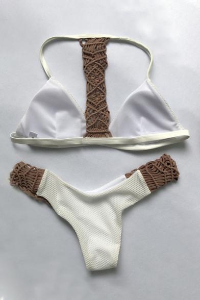 Color Block Braided Rope Embellished Halter Bikini