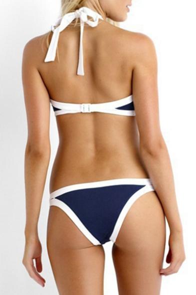 Out Hollow Halter Color Bikini Sleeveless Block w4nHS