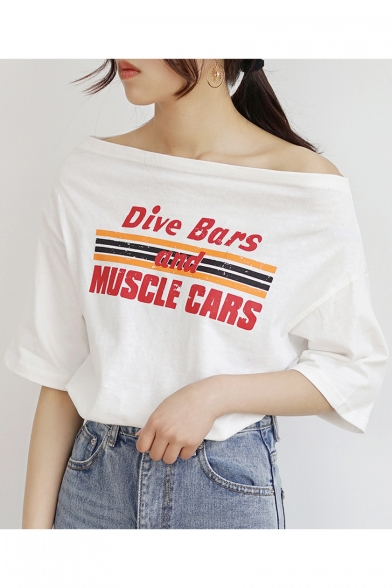 Sleeve Printed Off Half Music Tee Shoulder Cars Striped Dive Bars Letter And A7OOUv
