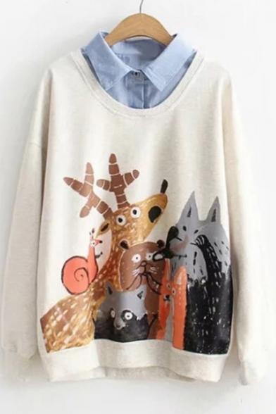 Fake Two Pieces Lapel Collar Cartoon Animal Printed Long Sleeve Sweatshirt