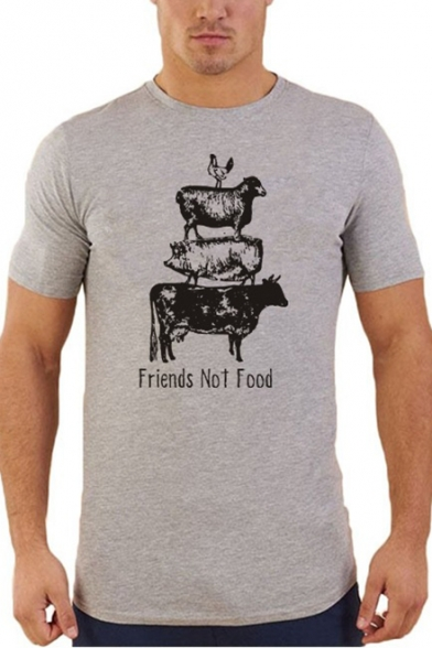 Pig Tee Chicken Cow Men's Summer Slim Farm Print Sheep FRIENDS FOOD Fit NOT Letter nfUqIqF