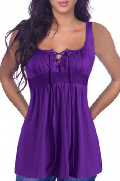 Lace Up Front Sleeveless Lace Insert Tank