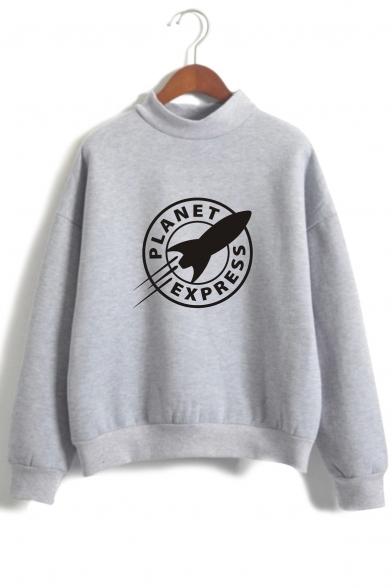 Printed Leisure Sleeve Sweatshirt High Rocker Long Neck Letter W6nq1YrZ6w