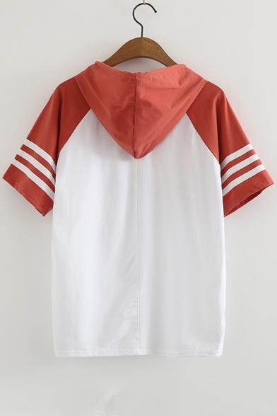 Sleeve Printed Block Letter Raglan Tee Hooded Color Crown Short qYxn6F