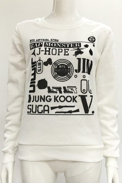 Neck Letter Gun Sleeve Round Printed Long Sweatshirt tqqwrF