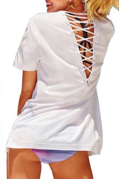 Out Sleeve Up Neck Short Back Hollow Tee Round Lace Printed Letter zHxqw0IEf