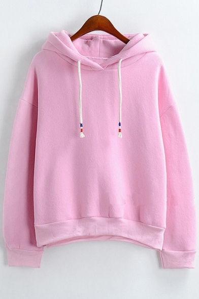 Relaxed Long Sleeve Plain Hoodie