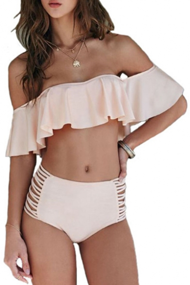 Off The Shoulder Plain Hollow Out Detail Bikini