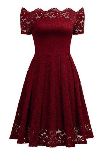 Off The Shoulder Short Sleeve Midi A-Line Lace Dress