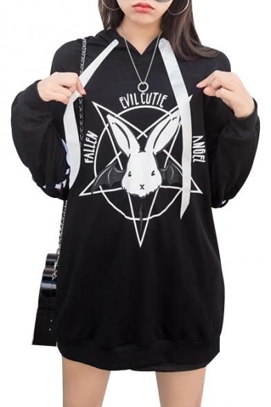 Pentagram Rabbit Letter Printed Lace Up Detail Long Sleeve Tunic Hoodie