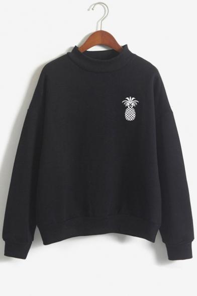 Sweatshirt Printed Sleeve Long Pineapple Neck High xH1qndUX