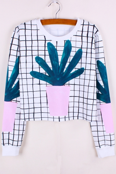 Neck Sweatshirt Plaid Sleeve Printed Round Long Plant Crop wCzFAqx8