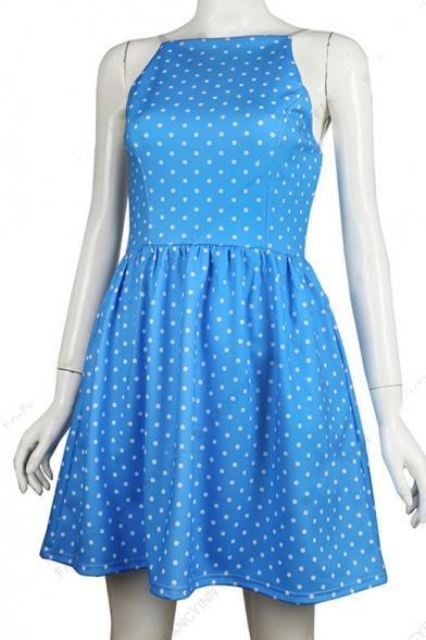 A Mini Spaghetti Printed Sleeveless Polka Dot Line Straps Dress wgSqwZa