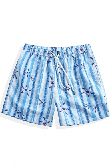 Pop Fashion Quick Drying Elastic Drawcord Mens Blue Striped Starfish Swim Shorts with Brief Liner