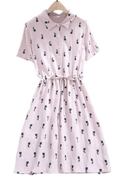 Rabbit Printed Lapel Collar Short Sleeve Drawstring Waist Midi A-Line Dress