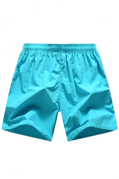 Solid Drawstring Neon Yellow Quick Dry Mens Bright Turquoise Swim Trunks with Liner and Inner Drawcord