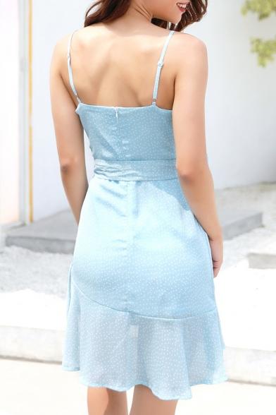 Spaghetti Straps Sleeveless Bow Tied Waist Polka Dot Printed Asymmetric Ruffle Hem Mini Cami Dress