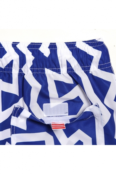 Top Designer Black and White Drawcord Striped Swim Shorts Trunks for Men with Pockets