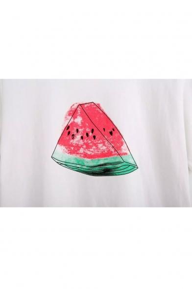 Tee Short Neck Printed Round Watermelon Sleeve fwPHvXq