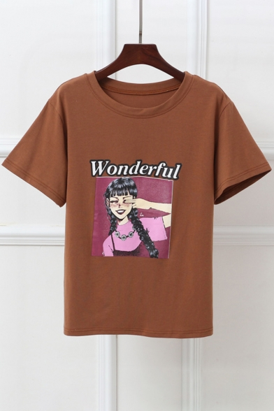Printed Tee Neck Sleeve Round Letter WONDERFUL Girl Short EwR04EZq