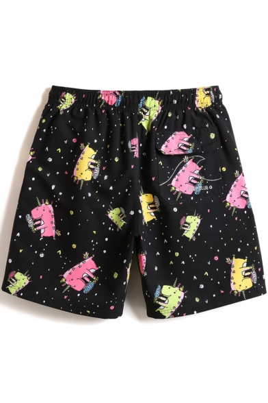 Black Cute Short Male Fast Dry Unicorn Printed Swim Shorts Bathing Suits with Mesh Liner