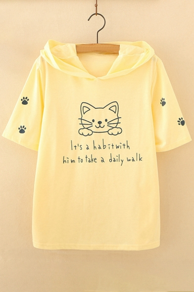 Cartoon Cat Letter Hooded Tee Short Printed Sleeve USBpU
