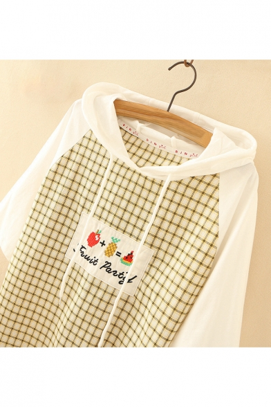 Sleeve Embroidered Hooded Plaid Letter Block Printed Fruit Short Tee Color 0qZpU1xwW