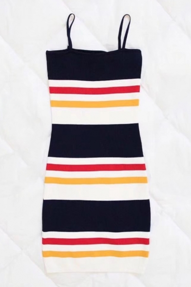 Color Block Striped Printed Spaghetti Straps Sleeveless Mini Bodycon Dress