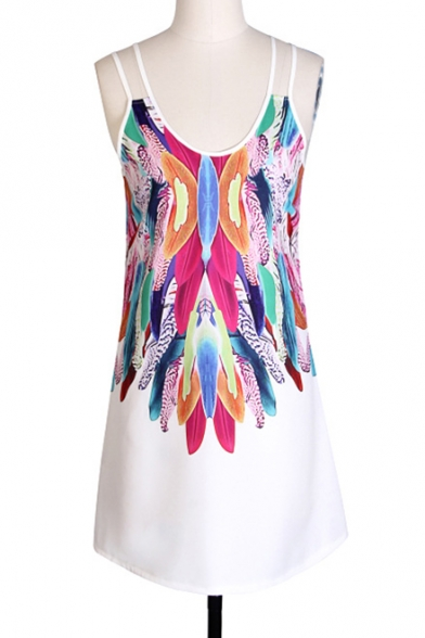Feather Printed Spaghetti Straps Sleeveless Mini Cami Dress