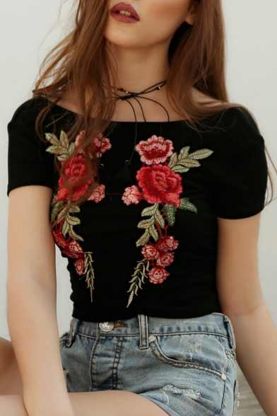 Floral Embroidered Boat Neck Short Sleeve Hollow Out Back Crop Tee