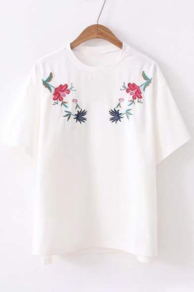 Round Embroidered Sleeve Short Neck Floral Tee qwAaWf0vw4