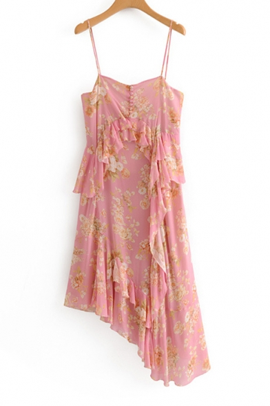 Floral Printed Buttons Embellished Ruffle Detail Maxi Asymmetric Dress