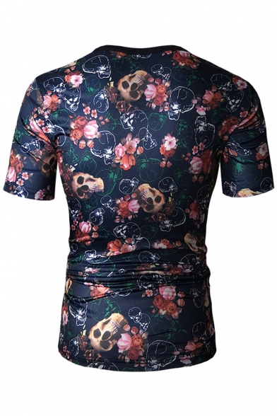 Skull Neck Sleeve Floral Tee Printed Round Short zOnxqpgf