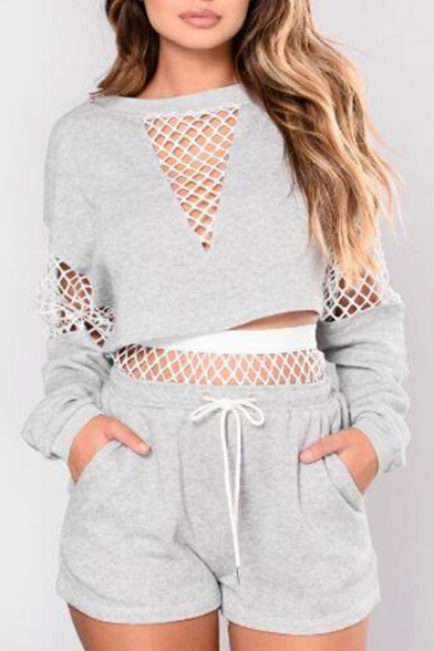 Mesh Insert Round Neck Long Sleeve Crop Sweatshirt with Drawstring Waist Shorts