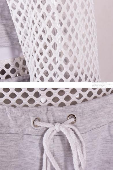Mesh Insert Round Neck Long Sleeve Crop Sweatshirt with Drawstring Waist Shorts