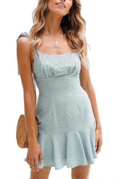 Plain Tied Straps Sleeveless Ruffle Hem Mini A-Line Dress