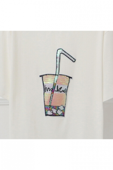 Short Sleeve Tee Neck Round Printed Drink Sequined wIZAgg