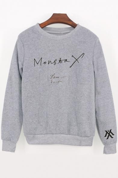 Simple Long Sweatshirt Neck Sleeve Round Letter Printed r1wqBUrT