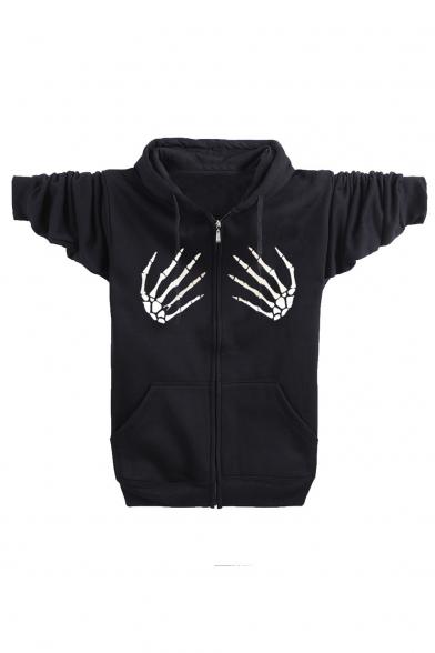 Купить со скидкой Skeleton Hands Zipped Long Sleeve Hooded Coat with Double Pockets